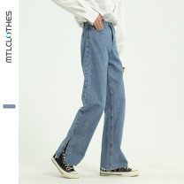 Jeans Youth fashion Others S,XL,L,M Light blue routine Micro bomb trousers Other leisure spring teenagers High waist 2020 zipper polyester