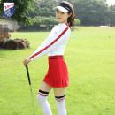 Golf apparel White red coat, white yellow coat, big red trouser skirt, white red coat + big red trouser skirt, yellow trouser skirt, white yellow coat + yellow trouser skirt S,M,L,XL,XXL female ZG-6 Long sleeve T-shirt D6010