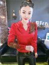 T-shirt Red shoulder mesh ironing big flower long sleeves, black shoulder mesh ironing big flower long sleeves, leopard point shoulder mesh ironing big flower long sleeves, green shoulder mesh ironing big flower long sleeves M,L,XL,2XL,3XL Winter of 2019 Long sleeves V-neck Self cultivation Regular