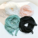 Scarf / silk scarf / Shawl polyester White black meat powder, fragrant green Spring and summer female Scarves / scarves multi-function Korean version rectangle Student youth middle age Plants and flowers Lace 10cm 140cm Digesta DS-G93 Summer of 2019