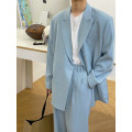 Leisure suit Multi grain double breasted routine Other leisure M,L,XL Youth fashion Back middle slit Blue suit easy Solid color teenagers tide spring Long sleeves routine Digging bags with lids Straight hem Casual clothes