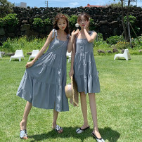 Dress Summer 2020 Off white, black, haze blue, haze blue short, off white short, black short, Auricularia auricula wide sling black long, Auricularia auricula wide sling black short S,M,L,XL Mid length dress singleton  Sleeveless commute One word collar High waist Solid color Single breasted camisole