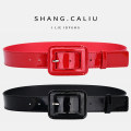 Belt / belt / chain Double skin leather Red and black female belt Versatile Middle aged youth Pin buckle Leather Wrap Patent leather 3.5cm alloy Light body thick line decoration candy color Pogley BGL-0194 Winter of 2019 no