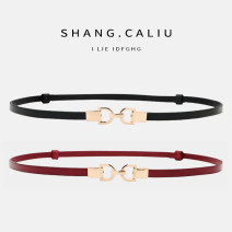 Belt / belt / chain top layer leather Red and black female belt Versatile Single loop Middle aged youth a hook Glossy surface Glossy surface 1cm alloy Bare elastic Pogley Autumn of 2019 no