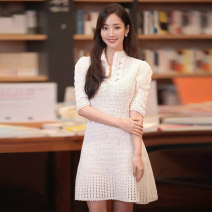 Dress Summer 2020 white S,M,L,XL Short skirt singleton  elbow sleeve commute stand collar middle-waisted Solid color Socket A-line skirt other Others 18-24 years old Type X Korean version 71% (inclusive) - 80% (inclusive) knitting cotton