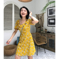 Dress Summer of 2019 Broken flower of Curcuma longa XS,S,M Mid length dress singleton  Short sleeve street other High waist Decor other Others 18-24 years old ZHIZHIII Z10069