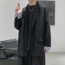 man 's suit Black, blue, off white Others Youth fashion routine M,L,XL,2XL,3XL Polyester 97% polyurethane elastic fiber (spandex) 3% easy Double breasted Other leisure No slits teenagers Long sleeves autumn routine like a breath of fresh air Casual clothes Flat lapel Straight hem Solid color 2020