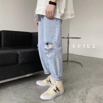 Jeans Youth fashion Others M,L,XL,2XL Grey, light blue Ninth pants Other leisure summer Medium low back like a breath of fresh air