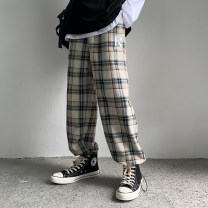 Casual pants Others Youth fashion Blue lattice, apricot lattice M,L,XL,2XL routine trousers Other leisure Straight cylinder Micro bomb Four seasons teenagers like a breath of fresh air Medium low back Straight cylinder Haren pants Three dimensional tailoring No iron treatment lattice other cotton