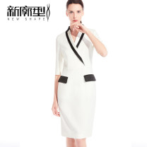 Dress Summer of 2019 white S M L Mid length dress singleton  three quarter sleeve commute tailored collar middle-waisted Solid color Socket One pace skirt routine Others 25-29 years old Type X New profile Ol style Stitched asymmetric zipper X19LYQ015 More than 95% polyester fiber