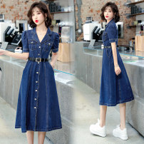 Dress Summer 2021 Picture color M L XL XXL Mid length dress singleton  Short sleeve commute V-neck Elastic waist Solid color Single breasted A-line skirt routine 25-29 years old Type X Xiangxi Pavilion Korean version XXG21AR8575 More than 95% Denim other Other 100% Pure e-commerce (online only)