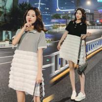 Dress Other / other Gray, black M,L,XL,XXL Korean version Short sleeve Medium length summer Lapel Solid color polyester