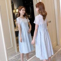 Dress Other / other M,L,XL,XXL Korean version Short sleeve Medium length summer Crew neck Decor Space cotton