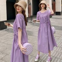 Dress Other / other Purple, purple [quality version] M,L,XL,XXL Korean version Short sleeve Medium length summer Crew neck Solid color