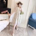 Dress Love Mia Decor M,L,XL,XXL Korean version Short sleeve Medium length summer V-neck Decor Chiffon