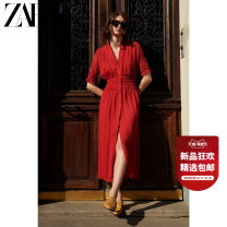 Dress Summer 2021 gules XS (160/80A) S (165/84A) M (170/88A) L (175/96A) XL (175/100A) longuette singleton  Short sleeve Sweet Solid color 25-29 years old Type H ZARA fold 09878066600-30 More than 95% polyester fiber Polyester 100% Ruili Same model in shopping mall (sold online and offline)