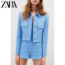 suit Spring 2021 sky blue XS (160/80A) S (165/84A) M (170/88A) L (175/96A) XL (175/100A) XXL (180/108A) Long sleeves routine Straight cylinder Versatile routine 02265397403-30 25-29 years old 31% (inclusive) - 50% (inclusive) cotton ZARA Same model in shopping mall (sold online and offline)
