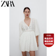 Dress Spring 2021 Ground white XS (160/80A) S (165/84A) M (170/88A) L (175/96A) XL (175/100A) XXL (180/108A) Middle-skirt singleton  Long sleeves Sweet V-neck middle-waisted Solid color Socket routine 25-29 years old Type A ZARA Hollowing out 05598051251-30 More than 95% cotton Cotton 100% Ruili