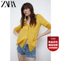 shirt Mustard  XS (160/80A) S (165/84A) M (170/88A) L (175/96A) XL (175/100A) XXL (180/108A) Spring 2021 hemp 96% and above Long sleeves Versatile Medium length Polo collar Single row multi button routine Solid color 25-29 years old ZARA 02261503305-30 Button Flax 100% flax