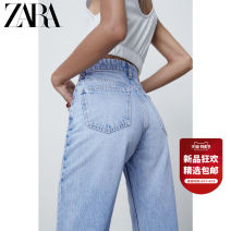 Jeans Spring 2021 Light blue 32 (160/58A) 34 (165/62A) 36 (165/66A) 38 (170/70A) 40 (170/74A) 42 (175/78A) 44 (175/82A) 46 (180/86A) trousers High waist Straight pants routine 25-29 years old Button Cotton denim light colour ZARA Cotton 100% Same model in shopping mall (sold online and offline)