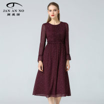 Dress Spring 2020 claret 38 40 42 44 46 Mid length dress singleton  Long sleeves commute Crew neck High waist Decor zipper other other Others 40-49 years old Type A Jan an no Retro More than 95% other polyester fiber Polyester 100% Same model in shopping mall (sold online and offline)