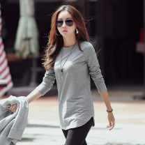 T-shirt grey S M L XL XXL 3XL 4XL Spring 2021 Long sleeves Crew neck easy Medium length routine commute cotton 86% (inclusive) -95% (inclusive) 25-29 years old Korean version classic Solid color Roy nu T089 Cotton 95% polyurethane elastic fiber (spandex) 5% Pure e-commerce (online only)
