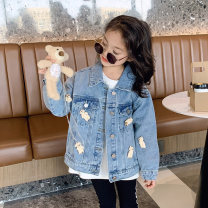 Plain coat Princess Yuanyuan female The recommended height is about 100-110cm for Size 110, 110-120cm for Size 120, 120-130cm for Size 130, 130-140cm for size 140, 140-150cm for size 150 and 150-160cm for size 160 Denim blue spring and autumn Korean version Single breasted routine nothing blending