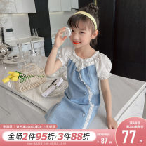 Dress Denim blue female Princess Yuanyuan The recommended height is about 100-110cm for Size 110, 110-120cm for Size 120, 120-130cm for Size 130, 130-140cm for size 140, 140-150cm for size 150 and 150-160cm for size 160 Other 100% summer Korean version Short sleeve Broken flowers other A-line skirt