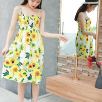 Dress Summer of 2019 Average size Mid length dress singleton  Sleeveless Sweet square neck middle-waisted Broken flowers Socket Princess Dress other camisole 18-24 years old Type A Other / other More than 95% Chiffon polyester fiber princess