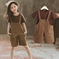 suit Other / other coffee 110cm,120cm,130cm,140cm,150cm,160cm female summer other Short sleeve + pants 2 pieces Thin money There are models in the real shooting Diagonal lace up nothing other other elder Expression of love Short sleeve Brown suspender suit Class B Other 100%