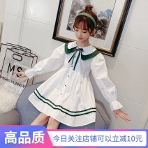 Dress white female Other / other 110cm,120cm,130cm,140cm,150cm,160cm Other 100% spring and autumn Korean version Long sleeves Solid color cotton A-line skirt Class B 7, 8, 14, 3, 6, 13, 11, 5, 4, 10, 9, 12 Chinese Mainland