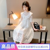 Dress white female Other / other 110cm,120cm,130cm,140cm,150cm,160cm Other 100% summer Britain Short sleeve Dot other Irregular Class B Chinese Mainland