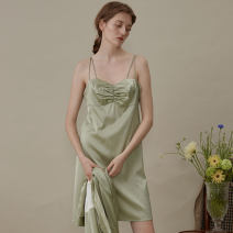 Nightdress NOT JUST PAJAMA Deep Avocado Green 155(S),160(M),165(L) sexy camisole Leisure home Short skirt autumn Solid color youth V-neck silk Frill decoration 81% (inclusive) - 95% (inclusive) real silk