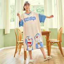 Nightdress Other / other KR14200,KR14201,KR14202,KR14203,KR14204,KR14205,KR14206 160(M),165(L),170(XL) Sweet Short sleeve Leisure home longuette summer Cartoon animation youth Crew neck cotton printing More than 95% pure cotton Kr14200 series 200g