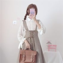 Fashion suit Summer 2020 Average size White shirt with plaid skirt 18-25 years old Other / other 8+16