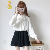 shirt White bow, black bow, pink bow, green ruffle, red ruffle, White Ruffle Average size Spring 2020 polyester fiber 96% and above Long sleeves commute Regular stand collar Socket puff sleeve Solid color 18-24 years old Straight cylinder Other / other Korean version two point one seven