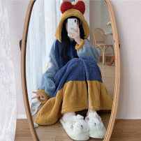 Nightdress Other / other Princess robe, Princess robe [quality version] Average size Sweet Long sleeves Leisure home longuette Solid color youth Hood other Embroidery other 9/28
