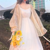 Fashion suit Spring 2021 Average size Apricot cardigan, suspender skirt 18-25 years old 3*10