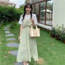 Dress Summer 2021 Average size Mid length dress Fake two pieces Short sleeve commute Crew neck High waist Decor Socket A-line skirt routine 18-24 years old Korean version 4*8