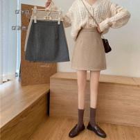 skirt Autumn 2020 S,M,L Off white, black gray, light card color Short skirt commute High waist A-line skirt Solid color Type A 18-24 years old 1/3 zipper Korean version