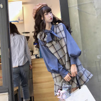 Dress Spring 2020 Apricot shirt, blue shirt, grey plaid skirt Average size Middle-skirt Two piece set Sleeveless commute other Loose waist lattice Ruffle Skirt straps 18-24 years old Other / other Korean version 11/7