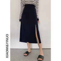 skirt Spring 2021 Average size Black, gray blue Short skirt A-line skirt Solid color 18-24 years old other #NOHASHTAG other Splicing, asymmetric