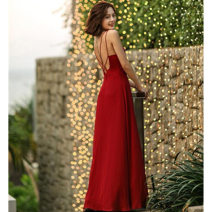 Dress Summer 2020 gules XS,S,M,L,XL Mid length dress singleton  Sleeveless commute One word collar High waist Solid color Socket A-line skirt routine camisole 25-29 years old Type A Simplicity Bare back, strap 51% (inclusive) - 70% (inclusive) Chiffon