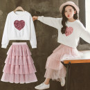 suit Other / other White, red, yellow, white (cashmere and thickened winter clothes), red (cashmere and thickened winter clothes) female spring and autumn Korean version Long sleeve + skirt 2 pieces routine There are models in the real shooting Socket nothing other other children Learning reward