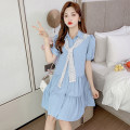 Dress Summer 2021 White blue S M L XL Short skirt singleton  Short sleeve commute Polo collar High waist Solid color Socket A-line skirt routine Others 25-29 years old Type A Jane fan school Korean version Fold splicing WWFS826# More than 95% brocade polyester fiber Other polyester 95% 5%