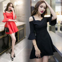 Dress Summer 2016 Black red S M L XL Short skirt singleton  elbow sleeve street One word collar High waist Solid color Socket Princess Dress pagoda sleeve camisole 25-29 years old Type A Jane fan school Open back stitching strap zipper More than 95% other acrylic fibres Pure e-commerce (online only)