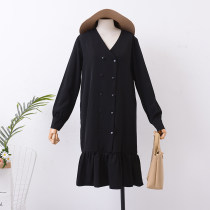 Dress Autumn of 2018 Dark apricot black apricot M L Mid length dress singleton  Long sleeves commute V-neck Solid color Single breasted Ruffle Skirt Others 18-24 years old Korean version FG124775 30% and below