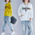 Women's large Autumn 2020 Black, white, yellow T-shirt singleton  commute easy thick Socket Long sleeves Solid color, letter Korean version Crew neck Medium length cotton printing and dyeing Bat sleeve tie-dyed 96% and above Medium length other Cotton 96% and above