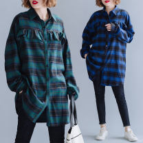 shirt Green, blue Average size [120-220 Jin] Autumn 2020 cotton 96% and above Long sleeves Original design Regular Polo collar Single row multi button routine lattice Straight cylinder Button pure cotton