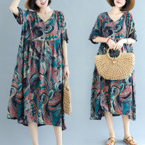 Women's large Summer 2021 Graph color Average size [120-200kg] Dress singleton  commute easy thin Socket elbow sleeve Abstract pattern ethnic style V-neck Medium length Cotton, hemp printing and dyeing pagoda sleeve 18-24 years old pocket 81% (inclusive) - 90% (inclusive) Medium length other